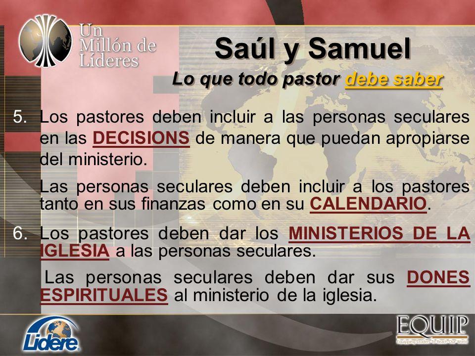 5.Los pastores deben incluir a las personas seculares en las DECISIONS de manera que puedan apropiarse del ministerio. Las personas seculares deben in
