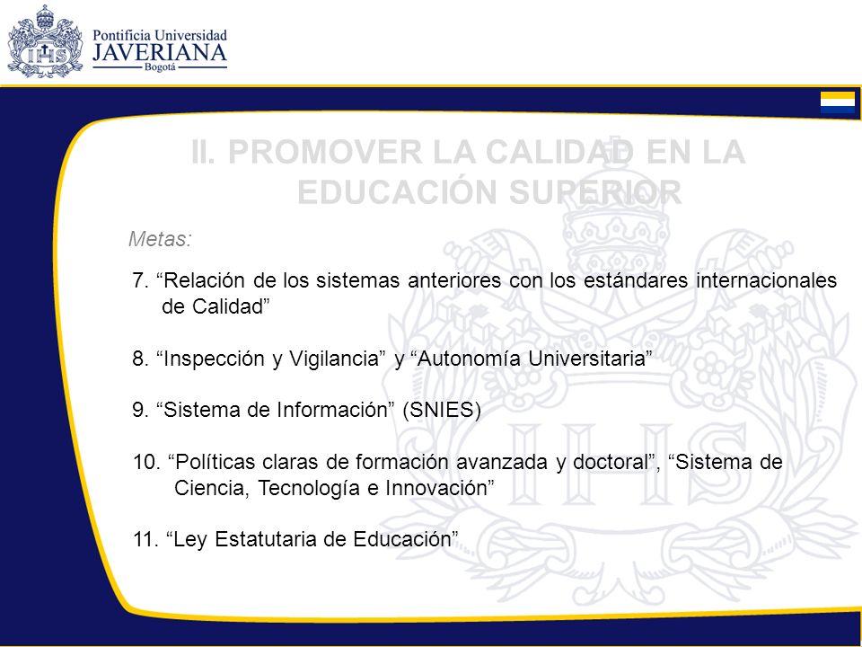 Metas: II. PROMOVER LA CALIDAD EN LA EDUCACIÓN SUPERIOR 7. Relación de los sistemas anteriores con los estándares internacionales de Calidad 8. Inspec