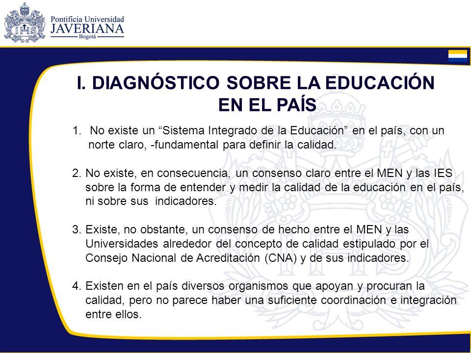 I.DIAGNÓSTICO SOBRE LA EDUCACIÓN EN EL PAÍS 5.
