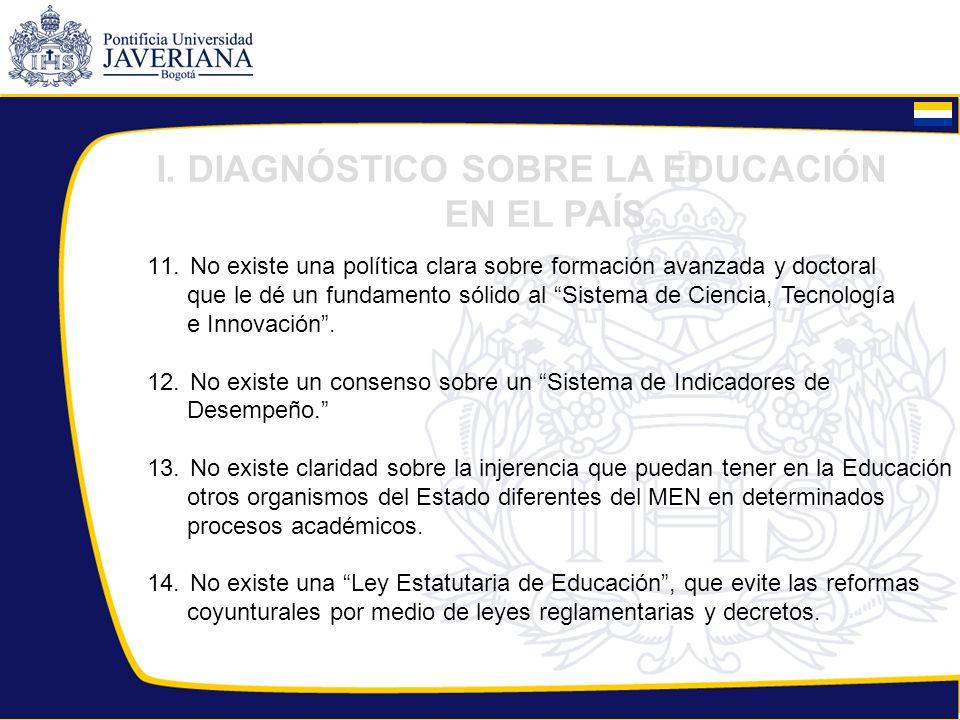 11. No existe una política clara sobre formación avanzada y doctoral que le dé un fundamento sólido al Sistema de Ciencia, Tecnología e Innovación. 12