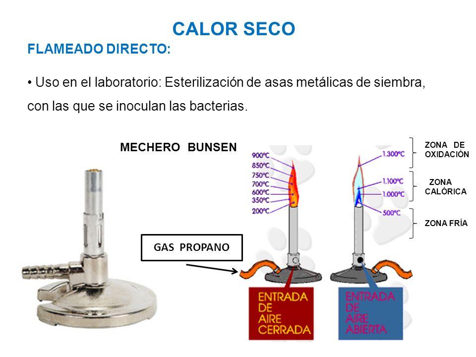 CALOR SECO FLAMEADO DIRECTO: Uso en el laboratorio: Esterilización de asas metálicas de siembra, con las que se inoculan las bacterias. MECHERO BUNSEN