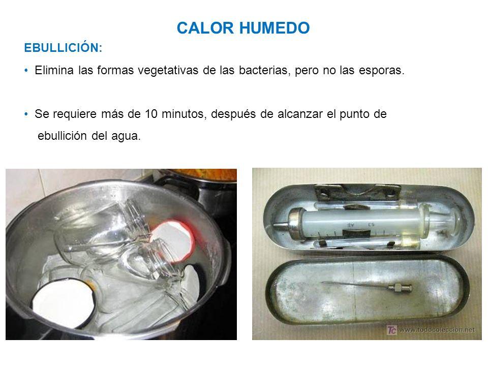 CALOR HUMEDO EBULLICIÓN: Elimina las formas vegetativas de las bacterias, pero no las esporas. Se requiere más de 10 minutos, después de alcanzar el p