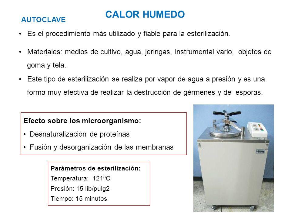 CALOR HUMEDO AUTOCLAVE Materiales: medios de cultivo, agua, jeringas, instrumental vario, objetos de goma y tela. Parámetros de esterilización: Temper