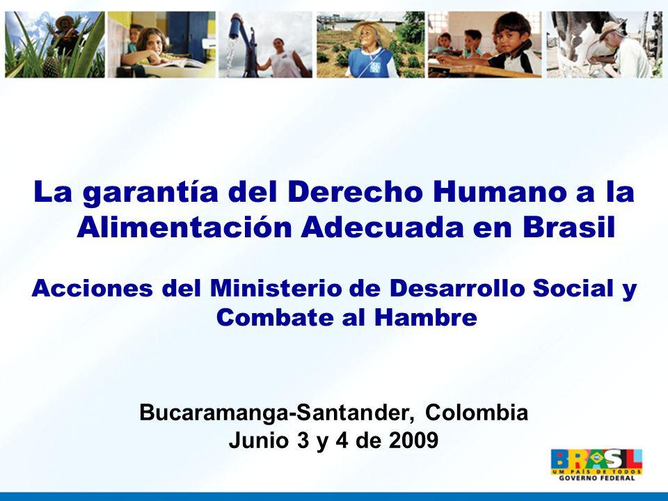 La garantía del Derecho Humano a la Alimentación Adecuada en Brasil Acciones del Ministerio de Desarrollo Social y Combate al Hambre Bucaramanga-Santa