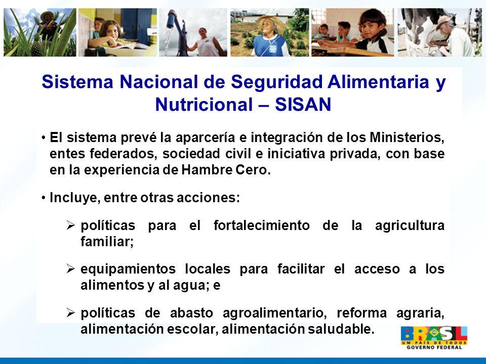 El sistema prevé la aparcería e integración de los Ministerios, entes federados, sociedad civil e iniciativa privada, con base en la experiencia de Ha