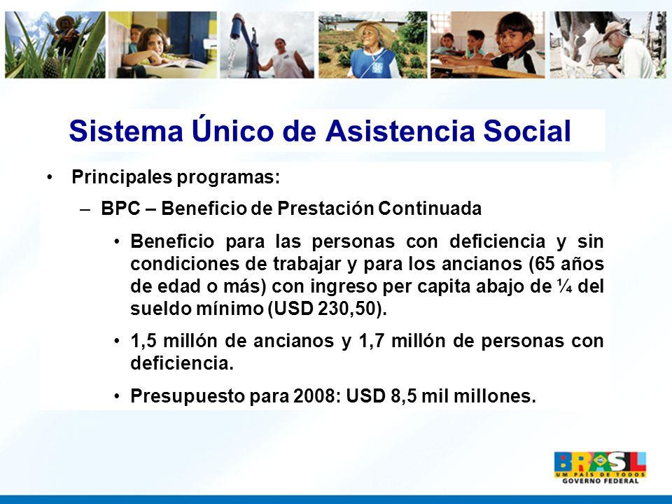 Sistema Único de Asistencia Social Principales programas: –BPC – Beneficio de Prestación Continuada Beneficio para las personas con deficiencia y sin