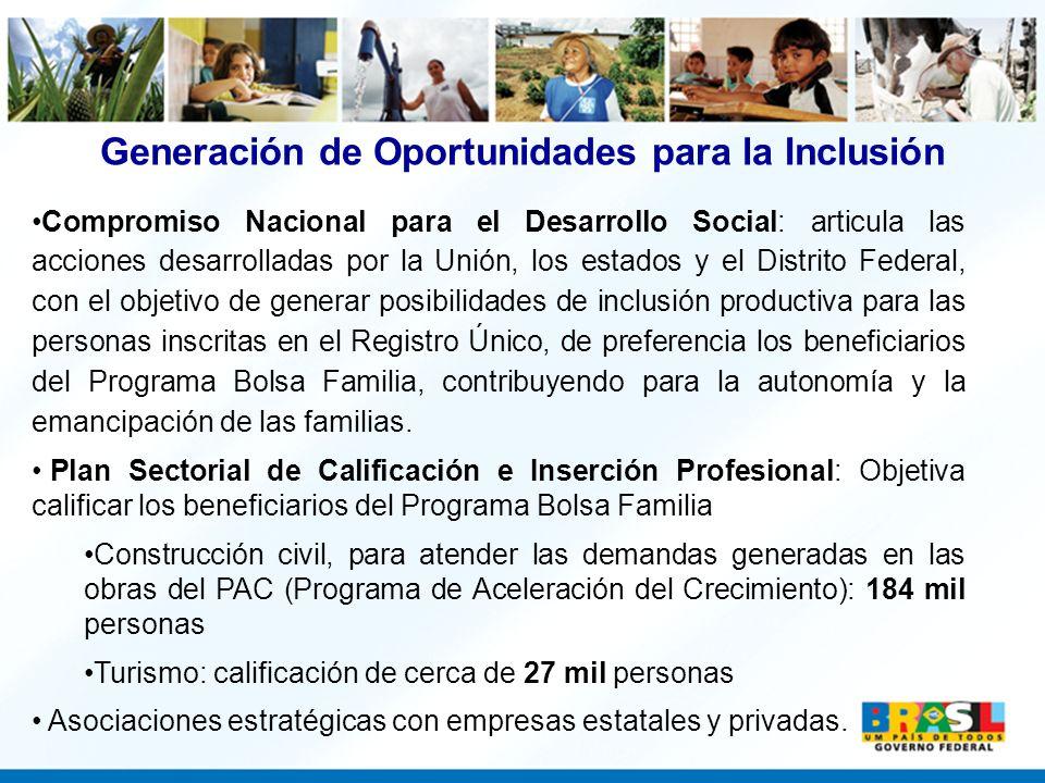 Generación de Oportunidades para la Inclusión Compromiso Nacional para el Desarrollo Social: articula las acciones desarrolladas por la Unión, los est