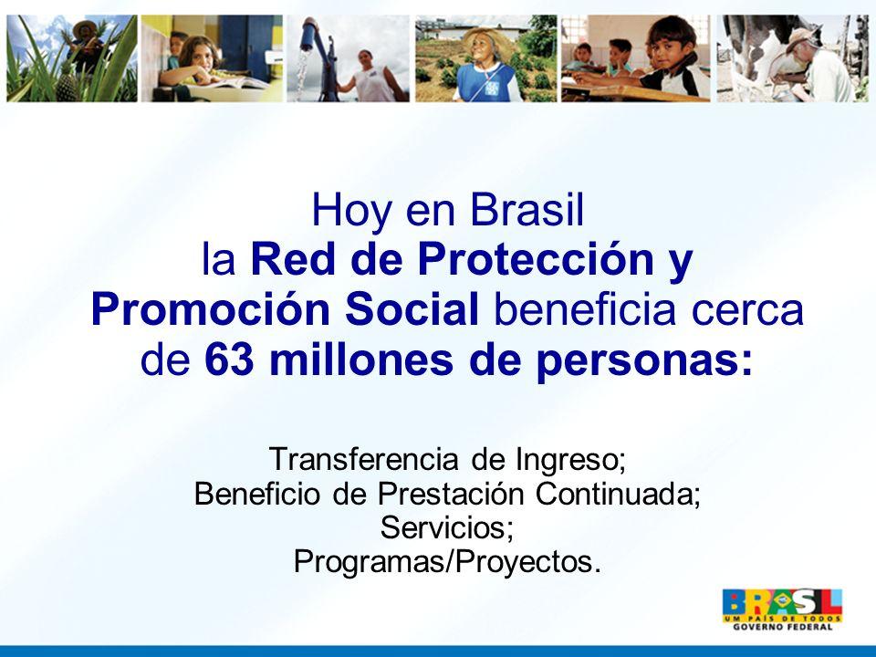 Hoy en Brasil la Red de Protección y Promoción Social beneficia cerca de 63 millones de personas: Transferencia de Ingreso; Beneficio de Prestación Co