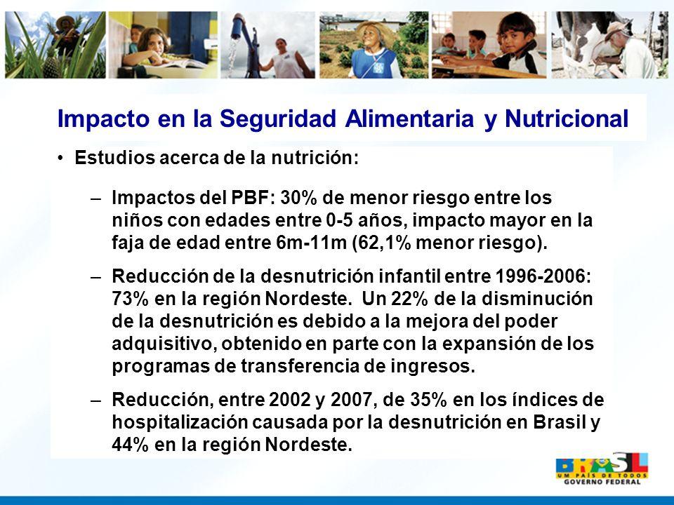 Estudios acerca de la nutrición: –Impactos del PBF: 30% de menor riesgo entre los niños con edades entre 0-5 años, impacto mayor en la faja de edad en