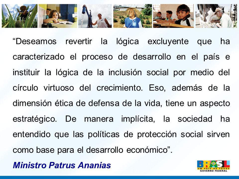 Deseamos revertir la lógica excluyente que ha caracterizado el proceso de desarrollo en el país e instituir la lógica de la inclusión social por medio