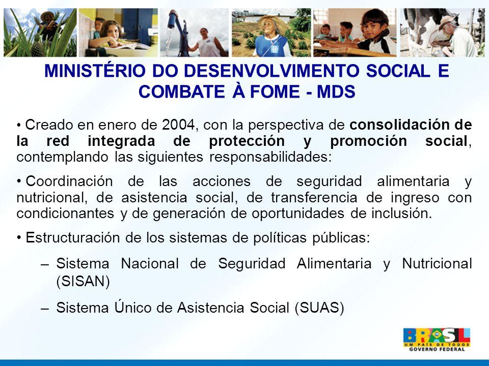 MINISTÉRIO DO DESENVOLVIMENTO SOCIAL E COMBATE À FOME - MDS Creado en enero de 2004, con la perspectiva de consolidación de la red integrada de protec
