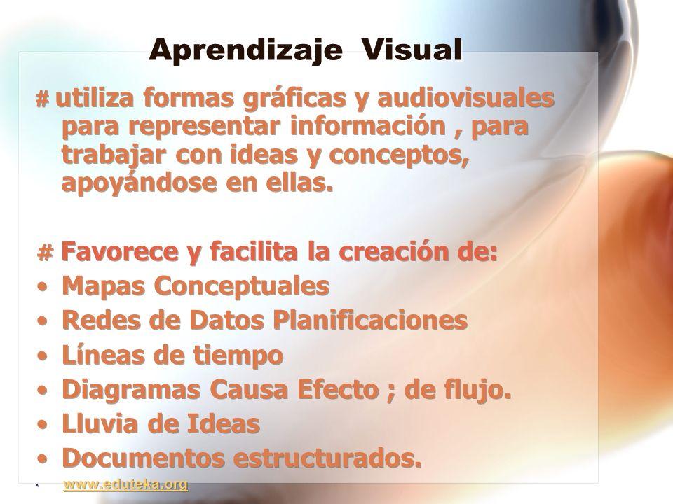 Aprendizaje Visual # utiliza formas gráficas y audiovisuales para representar información, para trabajar con ideas y conceptos, apoyándose en ellas. #
