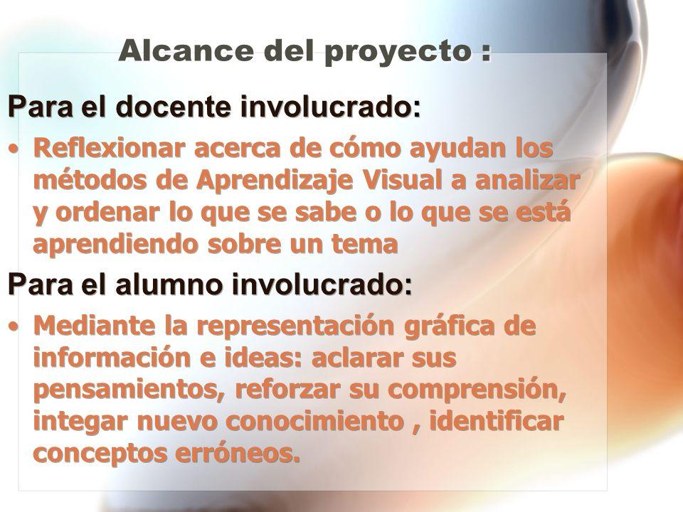 Alcance del proyecto : Para el docente involucrado: Reflexionar acerca de cómo ayudan los métodos de Aprendizaje Visual a analizar y ordenar lo que se