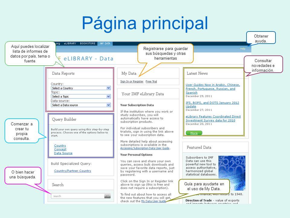 Página principal Aquí puedes localizar lista de informes de datos por país, tema o fuente.