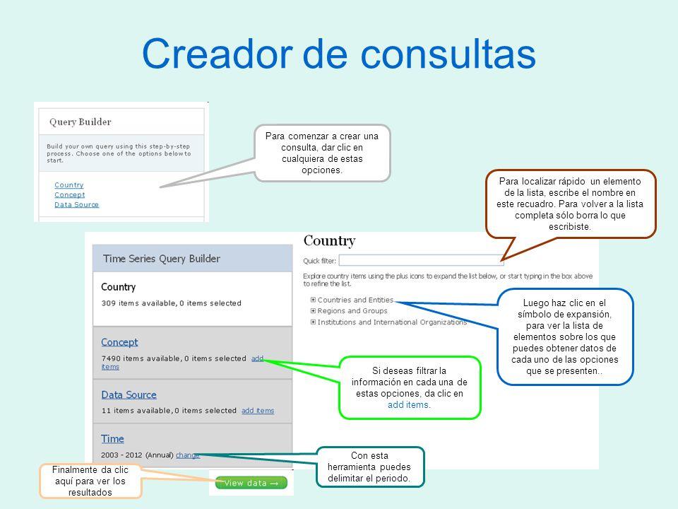 Creador de consultas Para comenzar a crear una consulta, dar clic en cualquiera de estas opciones.