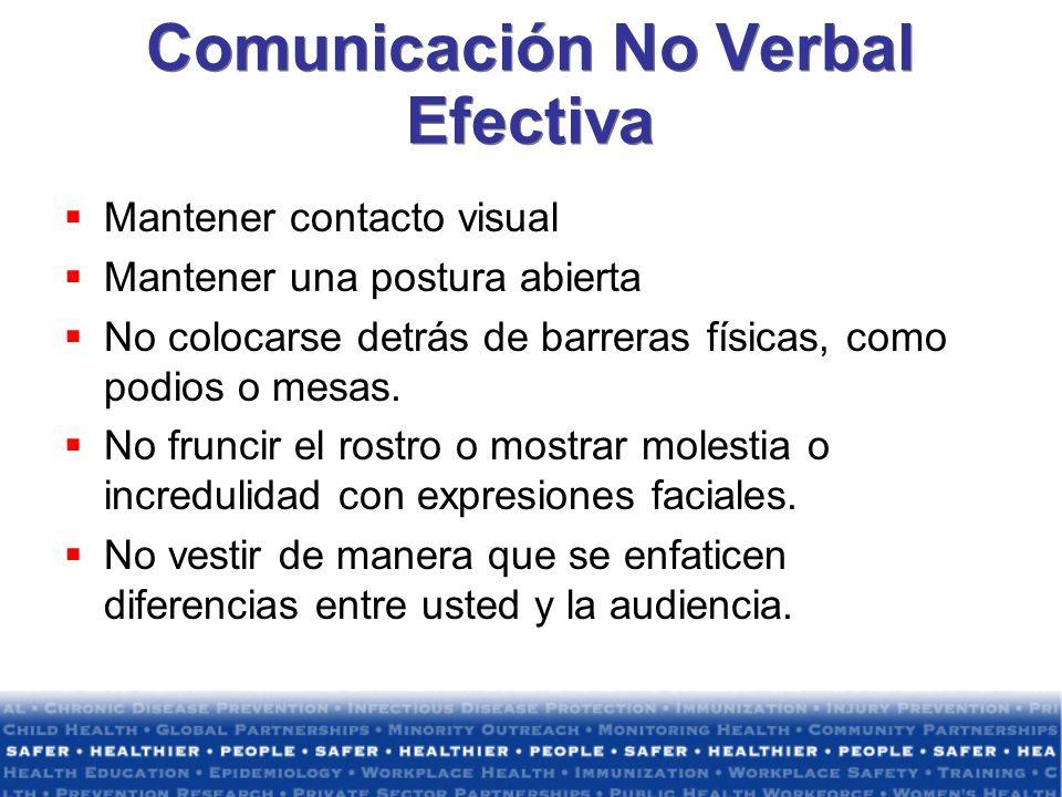 Comunicación No Verbal Efectiva Mantener contacto visual Mantener una postura abierta No colocarse detrás de barreras físicas, como podios o mesas. No