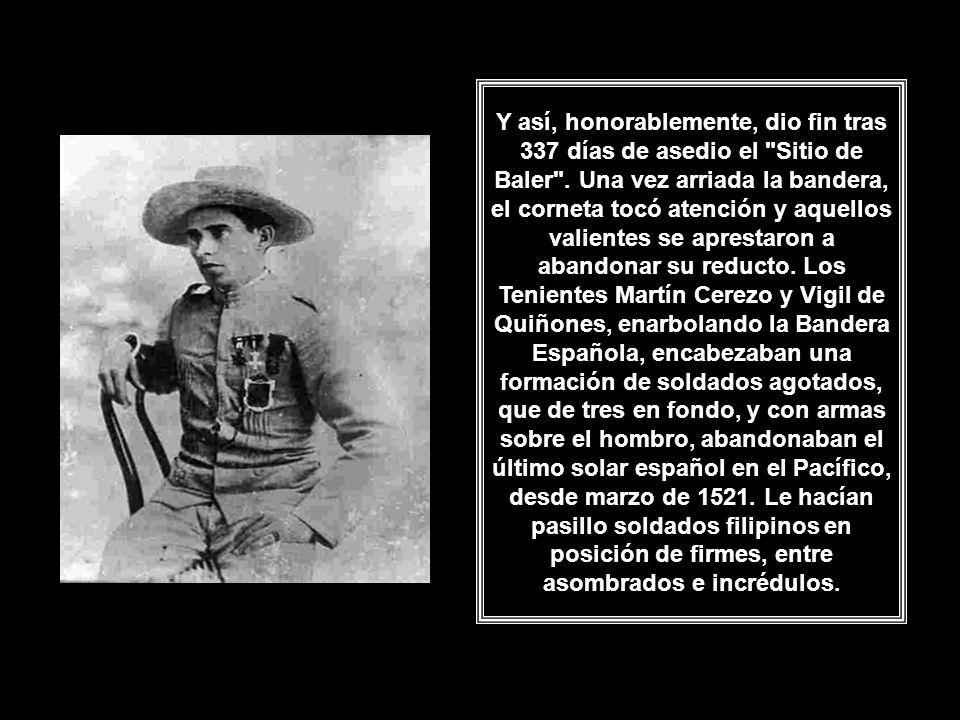 Entonces reunió a la tropa, les relató cuál era realmente la situación y les propuso una retirada honrosa, sin pérdida de la dignidad y del honor depositado en ellos por España.