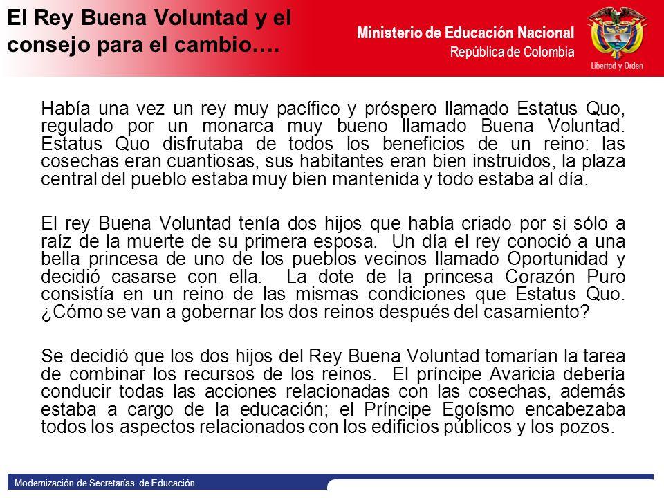 Modernización de Secretarías de Educación Ministerio de Educación Nacional República de Colombia EJERCICIO
