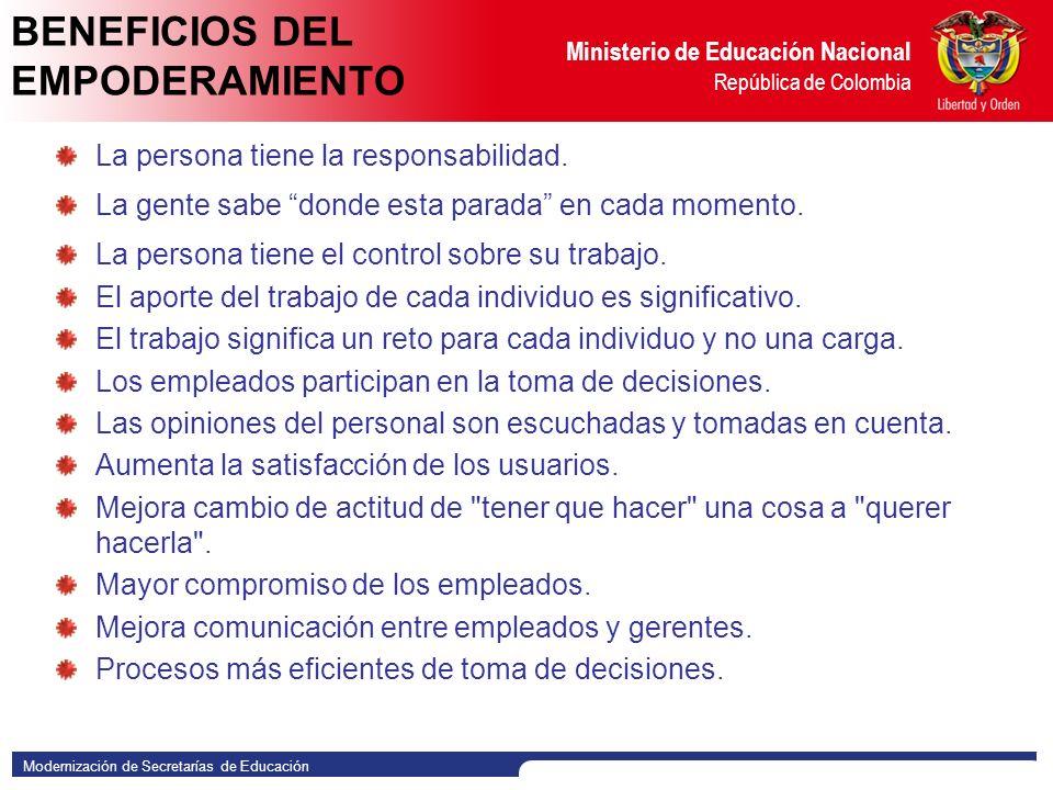Modernización de Secretarías de Educación Ministerio de Educación Nacional República de Colombia VALORES DEL EMPODERAMIENTO Orgullo: Sentir satisfacción por hacer las cosas bien constantemente.