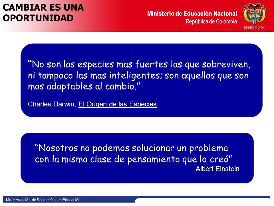 Modernización de Secretarías de Educación Ministerio de Educación Nacional República de Colombia Comprender los beneficios del empoderamiento y el proceso de toma de decisiones al interior de la Secretaría.