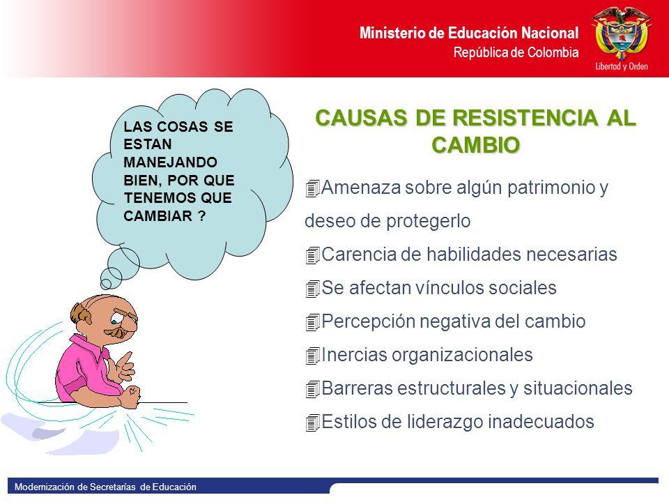 Modernización de Secretarías de Educación Ministerio de Educación Nacional República de Colombia CAMBIAR ES UNA OPORTUNIDAD No son las especies mas fuertes las que sobreviven, ni tampoco las mas inteligentes; son aquellas que son mas adaptables al cambio.