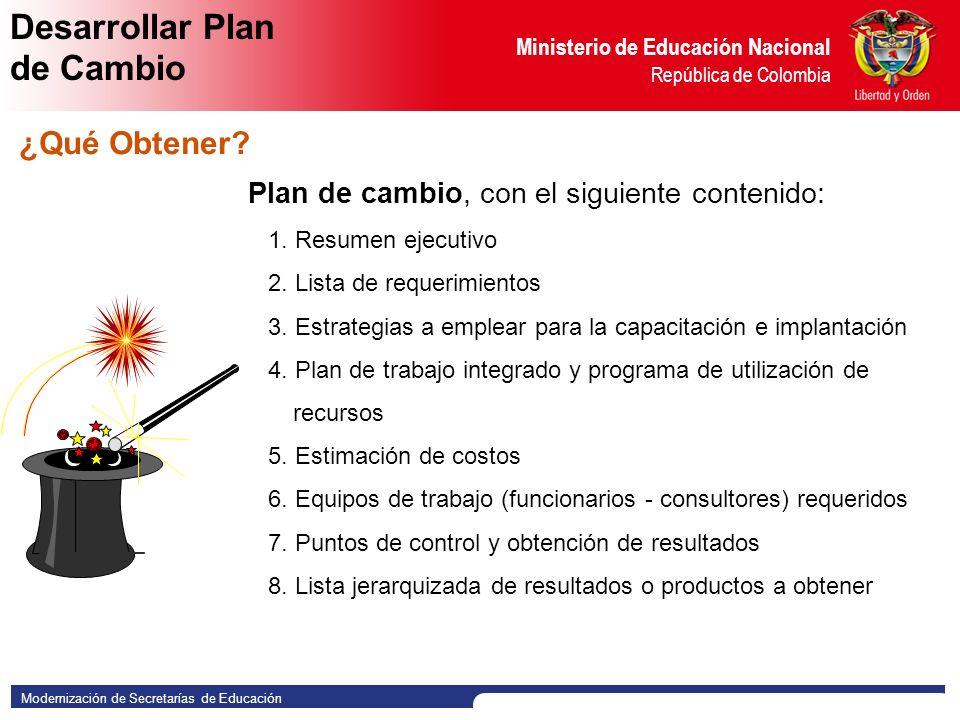 Modernización de Secretarías de Educación Ministerio de Educación Nacional República de Colombia Plan de cambio, con el siguiente contenido: 1.1.