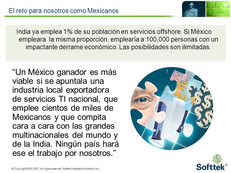 © Copyright 2000-2007. All rights reserved. Softtek Integration Systems, Inc. El reto para nosotros como Mexicanos India ya emplea 1% de su población