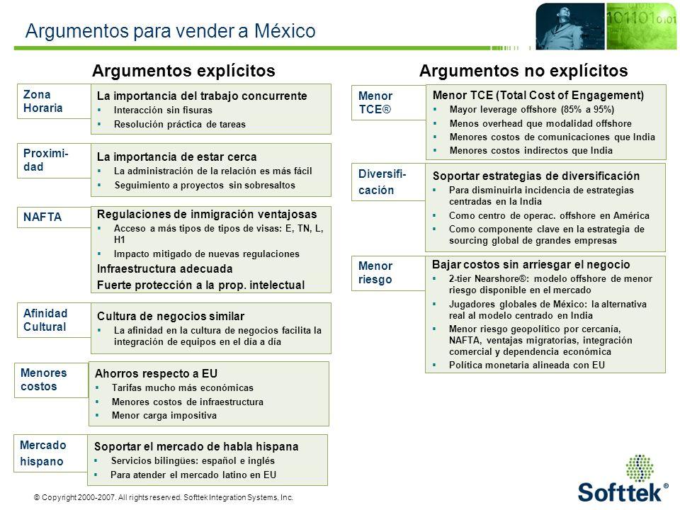 © Copyright 2000-2007. All rights reserved. Softtek Integration Systems, Inc. Argumentos para vender a México NAFTA Regulaciones de inmigración ventaj