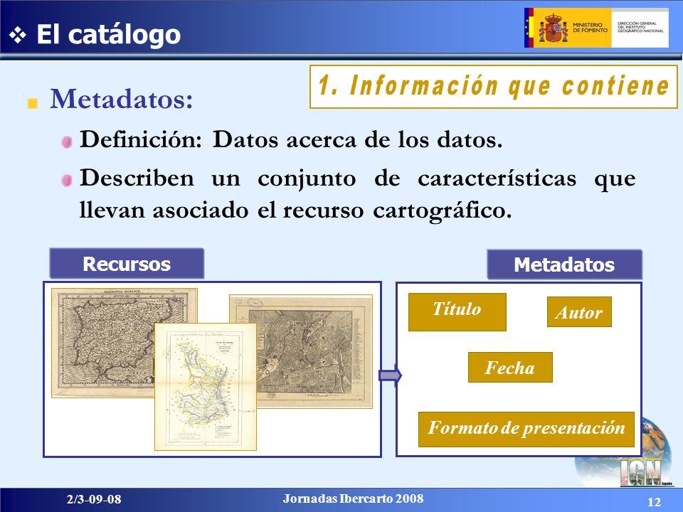 12 2/3-09-08 Jornadas Ibercarto 2008 Metadatos: Definición: Datos acerca de los datos. Describen un conjunto de características que llevan asociado el