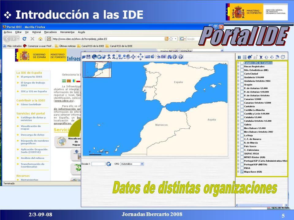 16 2/3-09-08 Jornadas Ibercarto 2008 ISO 19115: 2003: Norma más completa para describir información geográfica y servicios.