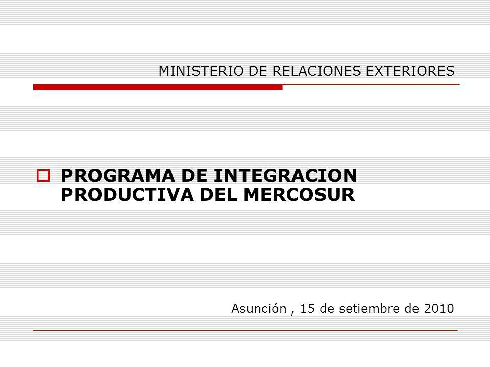 Acciones a nivel horizontal Cooperación entre los organismos/entidades nacionales, articulando los instrumentos vinculados al desarrollo de las empresas, en particular las micro y PYMES para apoyar el proceso de integración productiva.