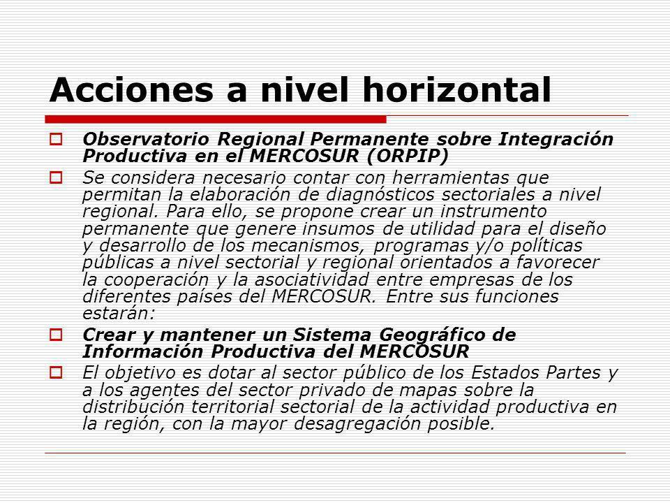 Acciones a nivel horizontal Observatorio Regional Permanente sobre Integración Productiva en el MERCOSUR (ORPIP) Se considera necesario contar con her