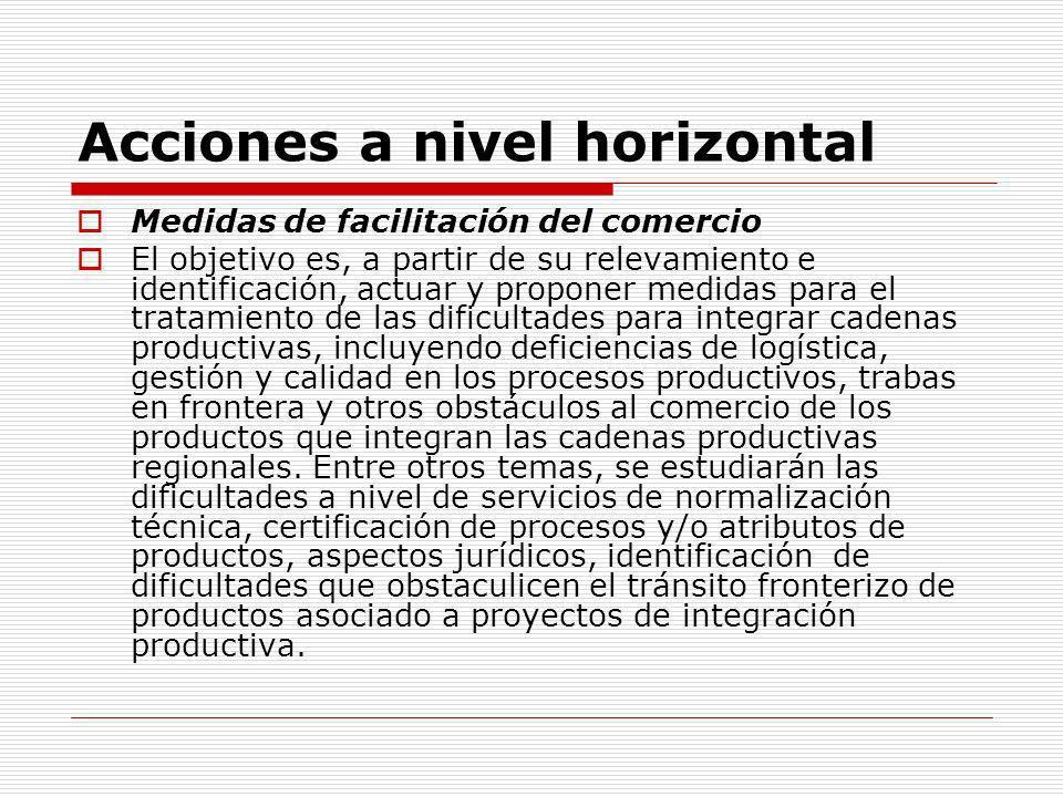 Acciones a nivel horizontal Medidas de facilitación del comercio El objetivo es, a partir de su relevamiento e identificación, actuar y proponer medid