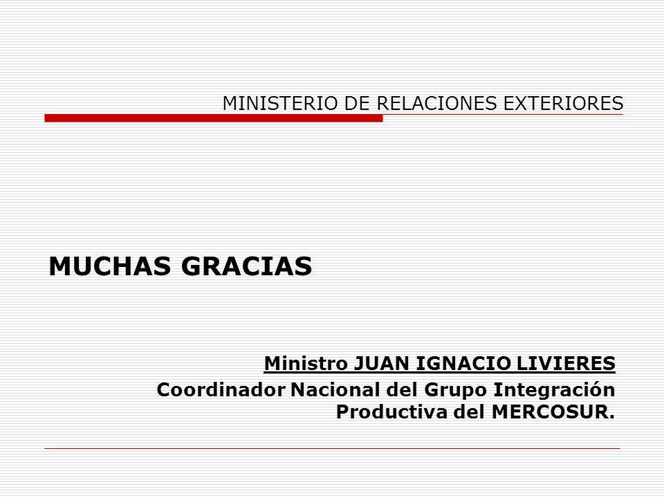 MINISTERIO DE RELACIONES EXTERIORES MUCHAS GRACIAS Ministro JUAN IGNACIO LIVIERES Coordinador Nacional del Grupo Integración Productiva del MERCOSUR.