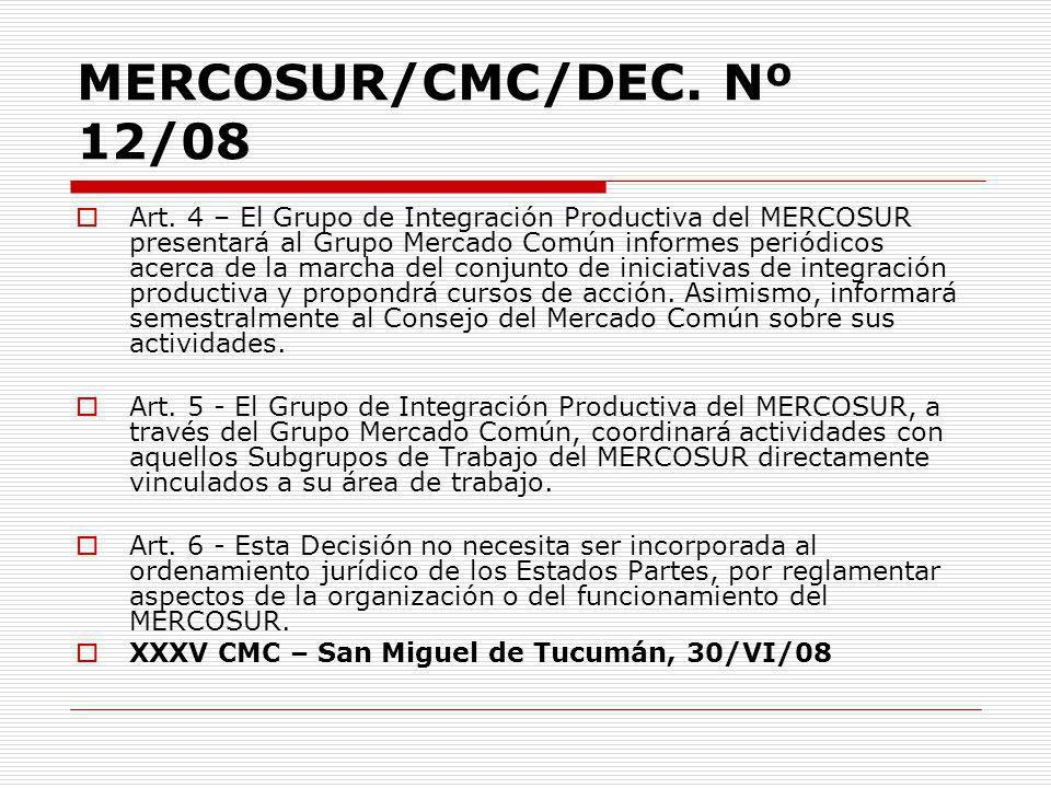 MERCOSUR/CMC/DEC. Nº 12/08 Art. 4 – El Grupo de Integración Productiva del MERCOSUR presentará al Grupo Mercado Común informes periódicos acerca de la
