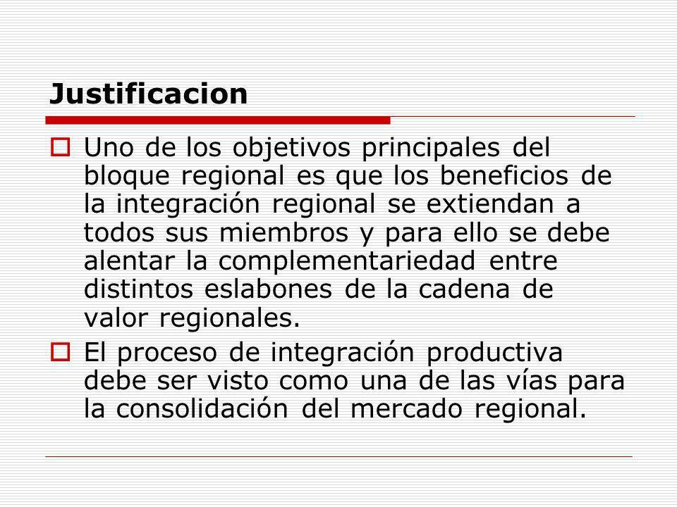 Justificacion Uno de los objetivos principales del bloque regional es que los beneficios de la integración regional se extiendan a todos sus miembros