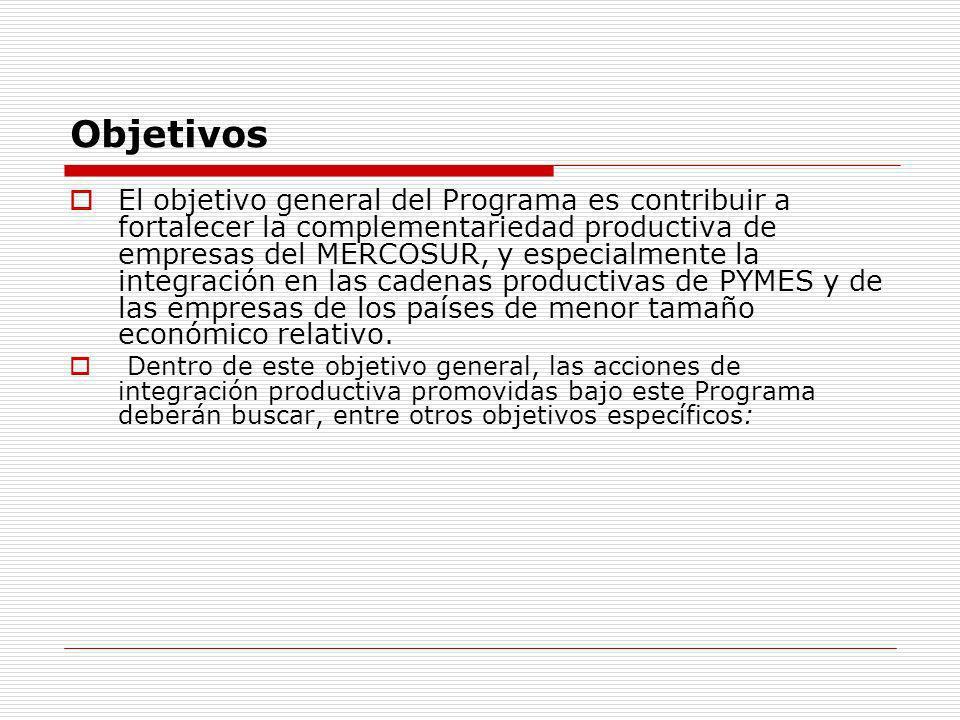 Objetivos Mejorar las condiciones de acceso de las empresas nacionales al mercado regional e internacional.