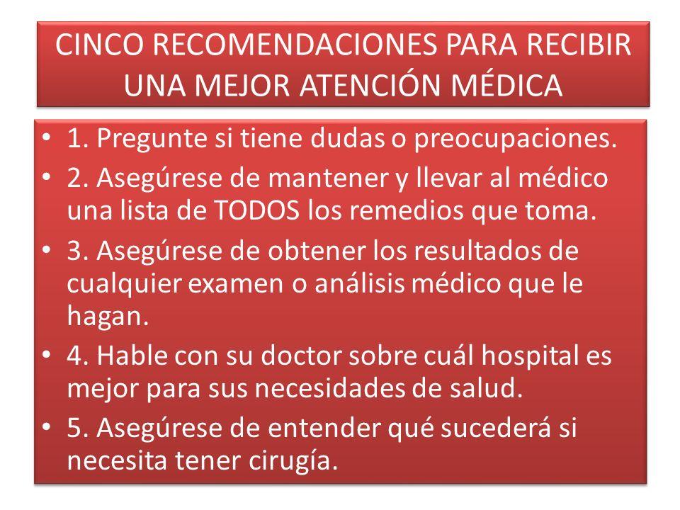 CINCO RECOMENDACIONES PARA RECIBIR UNA MEJOR ATENCIÓN MÉDICA 1.