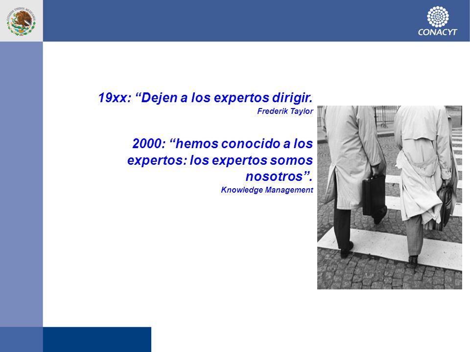 19xx: Dejen a los expertos dirigir. Frederik Taylor 2000: hemos conocido a los expertos: los expertos somos nosotros. Knowledge Management