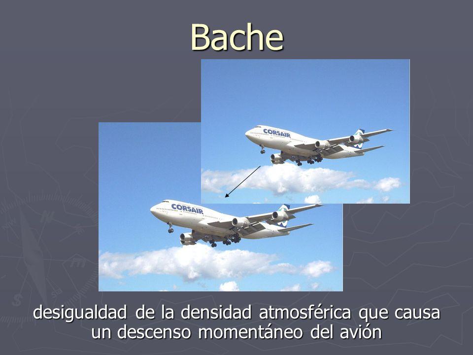 Bache desigualdad de la densidad atmosférica que causa un descenso momentáneo del avión