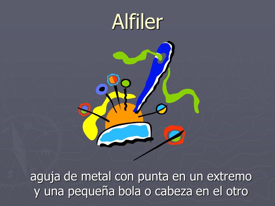 Alfiler aguja de metal con punta en un extremo y una pequeña bola o cabeza en el otro