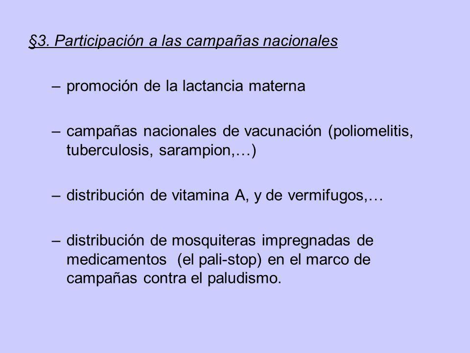 §3. Participación a las campañas nacionales –promoción de la lactancia materna –campañas nacionales de vacunación (poliomelitis, tuberculosis, sarampi