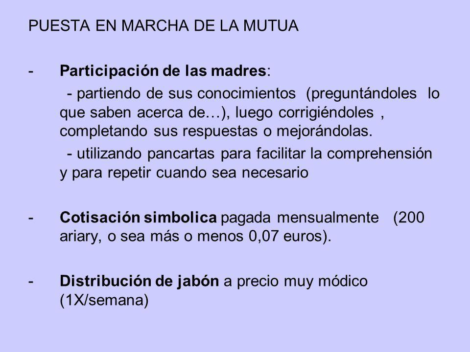 PUESTA EN MARCHA DE LA MUTUA -Participación de las madres: - partiendo de sus conocimientos (preguntándoles lo que saben acerca de…), luego corrigiénd