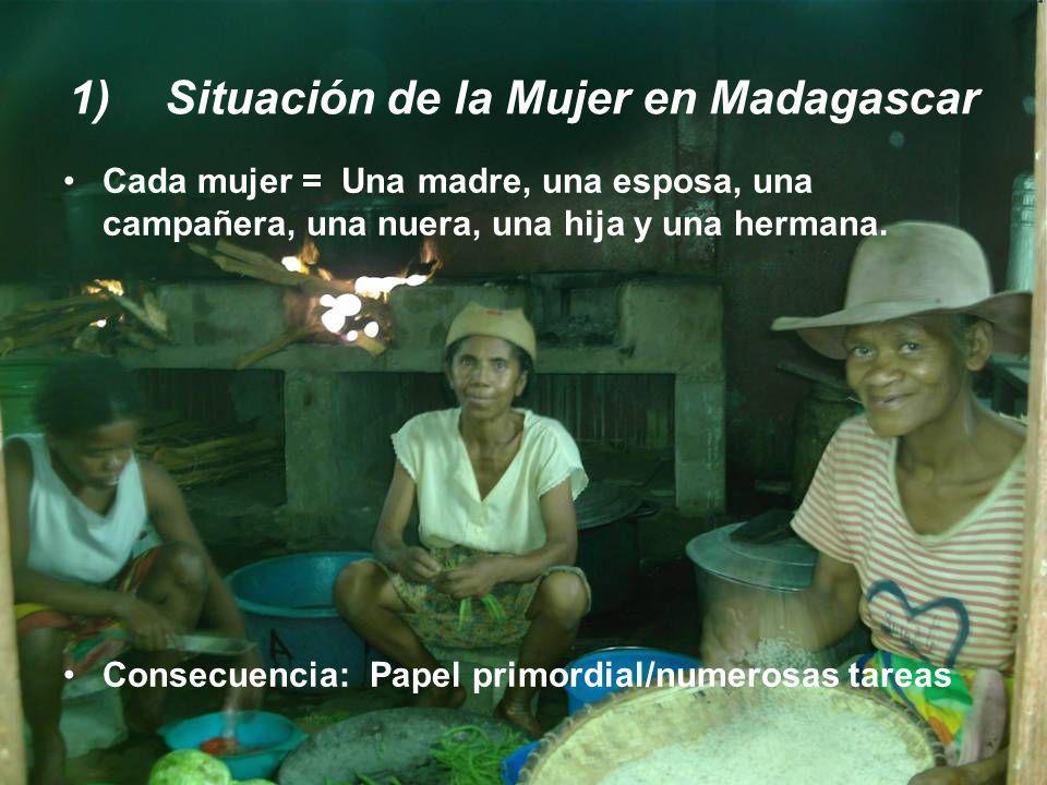 1)Situación de la Mujer en Madagascar Cada mujer = Una madre, una esposa, una campañera, una nuera, una hija y una hermana. Consecuencia: Papel primor