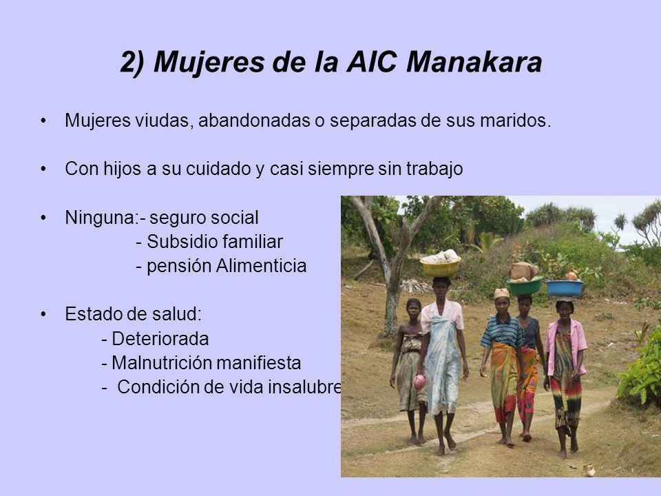2) Mujeres de la AIC Manakara Mujeres viudas, abandonadas o separadas de sus maridos. Con hijos a su cuidado y casi siempre sin trabajo Ninguna:- segu