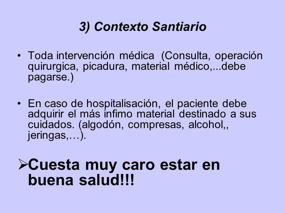 3) Contexto Santiario Toda intervención médica (Consulta, operación quirurgica, picadura, material médico,...debe pagarse.) En caso de hospitalisación