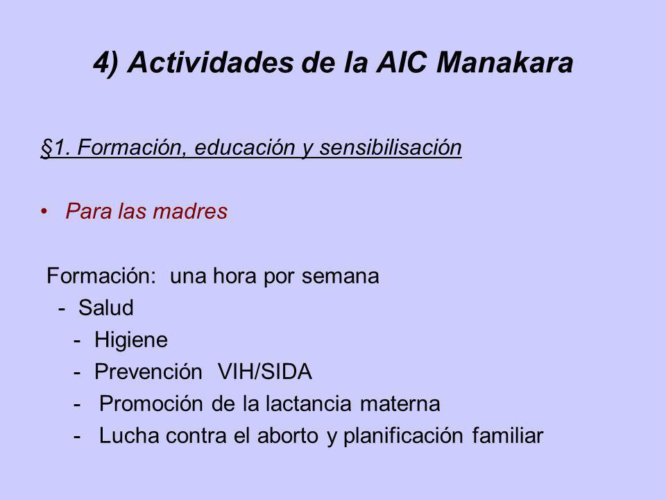 4) Actividades de la AIC Manakara §1. Formación, educación y sensibilisación Para las madres Formación: una hora por semana - Salud -Higiene -Prevenci