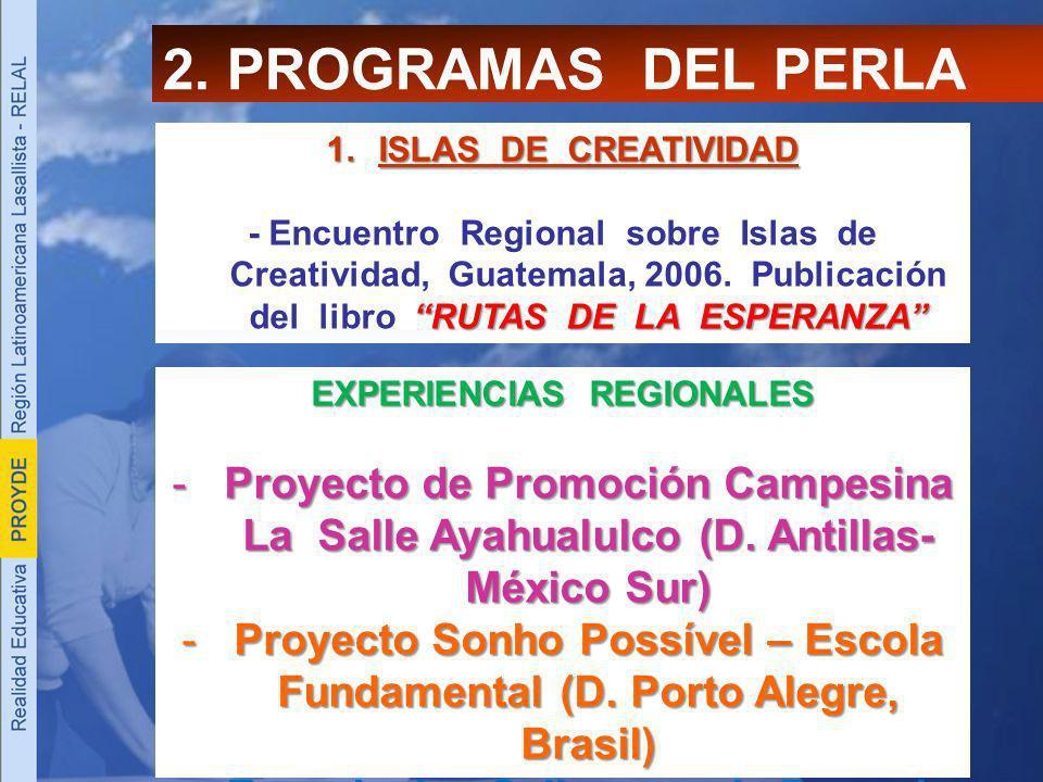 2. PROGRAMAS DEL PERLA 1.ISLAS DE CREATIVIDAD RUTAS DE LA ESPERANZA - Encuentro Regional sobre Islas de Creatividad, Guatemala, 2006. Publicación del