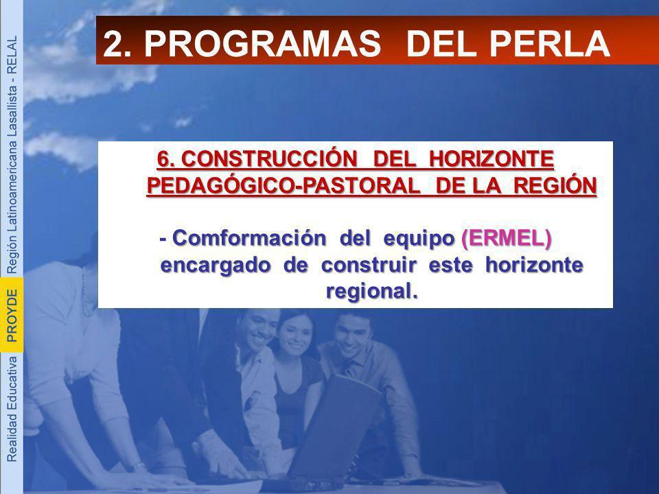 2. PROGRAMAS DEL PERLA 6. CONSTRUCCIÓN DEL HORIZONTE PEDAGÓGICO-PASTORAL DE LA REGIÓN Comformación del equipo (ERMEL) encargado de construir este hori