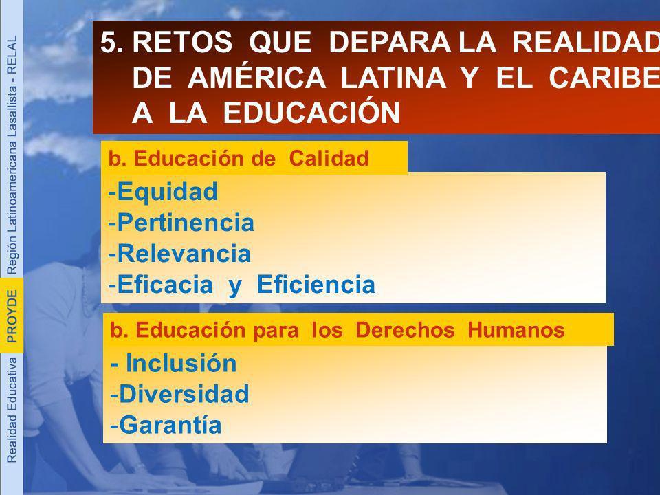 -E-Equidad -P-Pertinencia -R-Relevancia -E-Eficacia y Eficiencia 5. RETOS QUE DEPARA LA REALIDAD DE AMÉRICA LATINA Y EL CARIBE A LA EDUCACIÓN b. Educa